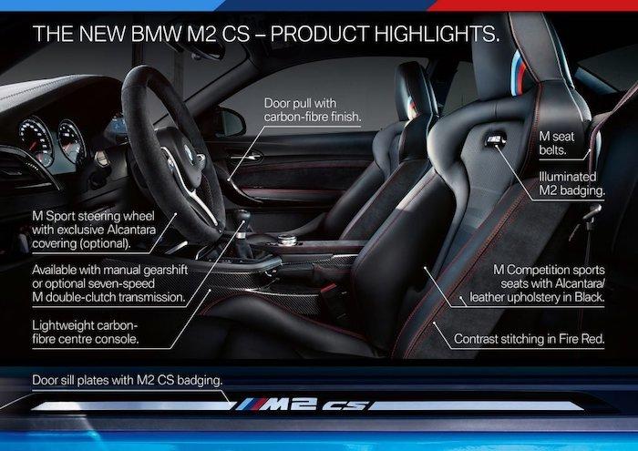 ภายห้องโดยสารของ BMW M2 CS