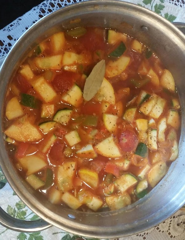 When veggies are getting soft & broth is to your liking, add chopped zucchini...