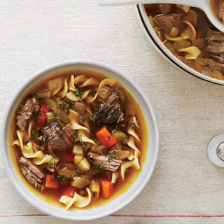 Vegetable-Noodle Soup with Beef.