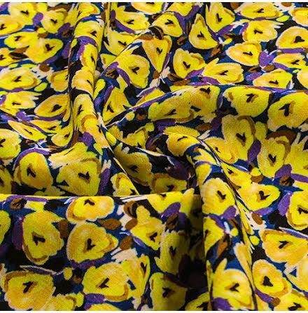 Småmönstrad Viskoscrepe - gul