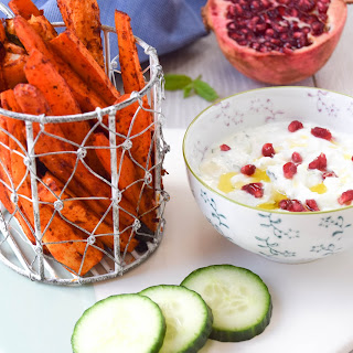Harissa Vegetable Chips With Feta & Cucumber Dip.