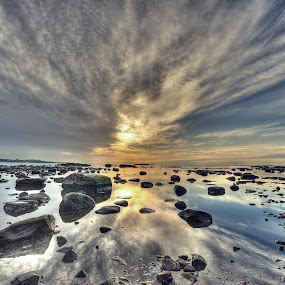 Take your shoes off, purred the ocean... by Frøydis Folgerø - Landscapes Beaches ( water, sky, sunset, sea, stones, sun )
