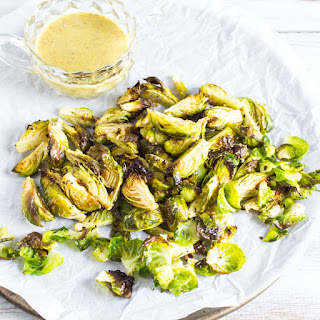 Crispy Brussels Sprouts Wedges w/ Honey-Less Honey Mustard