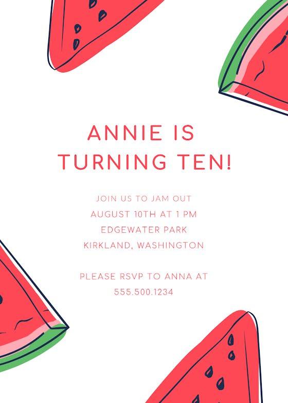 Annie's 10th Birthday - Birthday Card Template