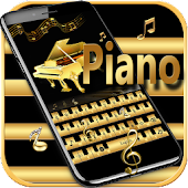 Gold Keyboard theme Gold Piano Tiles & eighth note