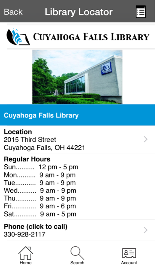 Cuyahoga Falls Library- screenshot