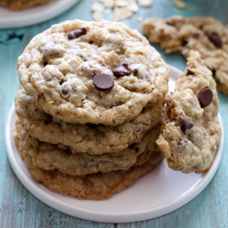 Soft and Chewy Oatmeal Chocolate Chip Cookies.