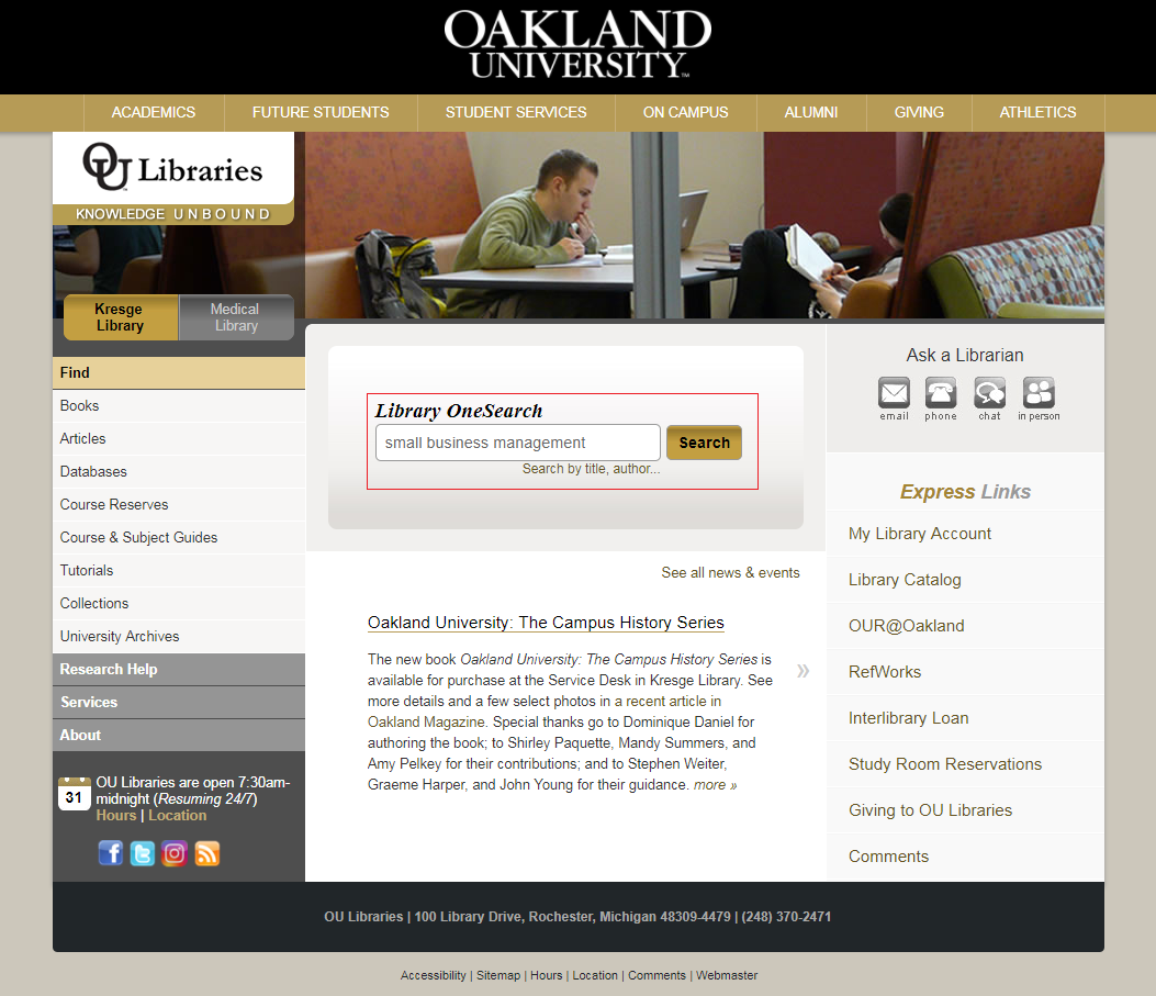 Library homepage with Library OneSearch box highlighted