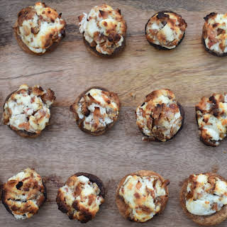 Goat Cheese Stuffed Mushrooms with Dates and Bacon.
