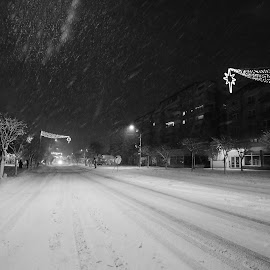 Street by Neli Dan - City,  Street & Park  Night ( street, snow, wind )