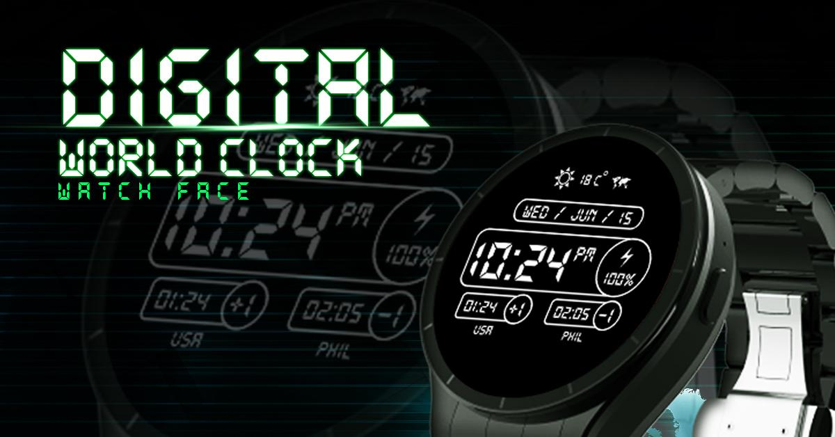 Digital World Time Watch Face- screenshot