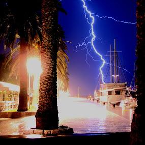 A close one                           by Jaksa Kuzmicic - Landscapes Weather ( pwcstorms, just, strike, lightning, meters, harbour, hvar, boat, island )