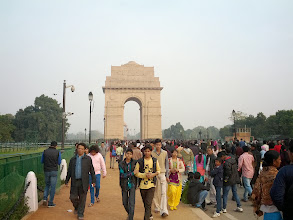 Photo: Now onto Delhi!  I enjoyed mixing into the crowd at India Gate, but we didn't blend in.  We were stopped many times by people looking to have photos taken with the foreigners.