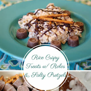 Rice Crispy Treats w/ Rolos, Chopped Pretzels and Chocolate Drizzle.