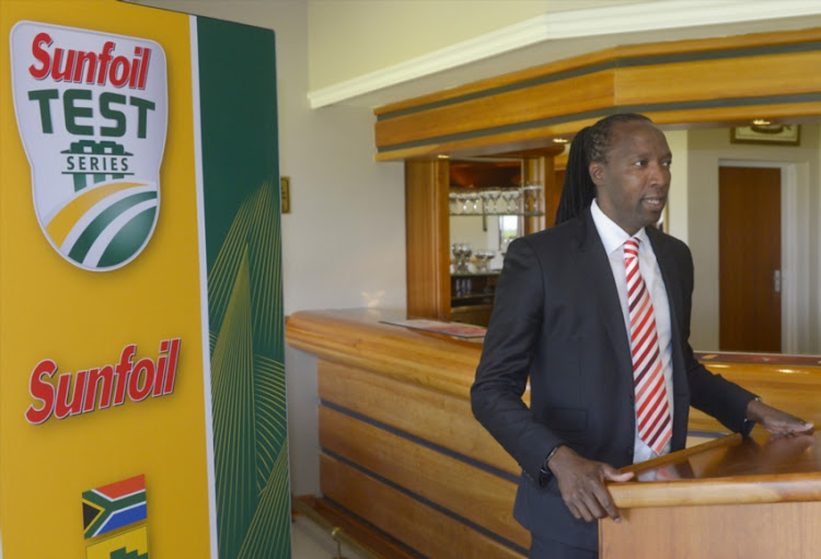 Dr Oupa Nkagisang, President of the North West cricket president speaking at the lunch time hand over during day 3 of the 1st Sunfoil Test match between South Africa and Bangladesh at Senwes Park on September 30, 2017 in Potchefstroom, South Africa.