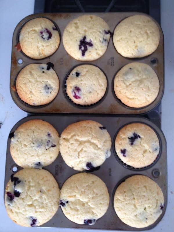 Meyer Lemon Blueberry Muffins Fresh Out Of The Oven.