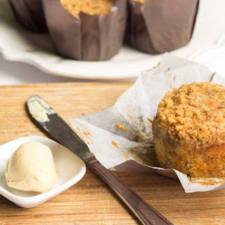 Banana Crumb Muffins with Whipped Vanilla Honey Butter