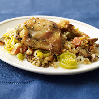 Chicken, Mushroom, and Brown Rice Slow Cooker Casserole.