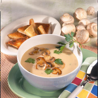 Cream of Mushroom Soup with Fried Bread Triangles.