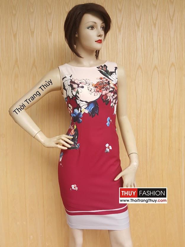 Váy liền dáng ôm họa tiết hoa trên ngực V419 Thời Trang Thủy