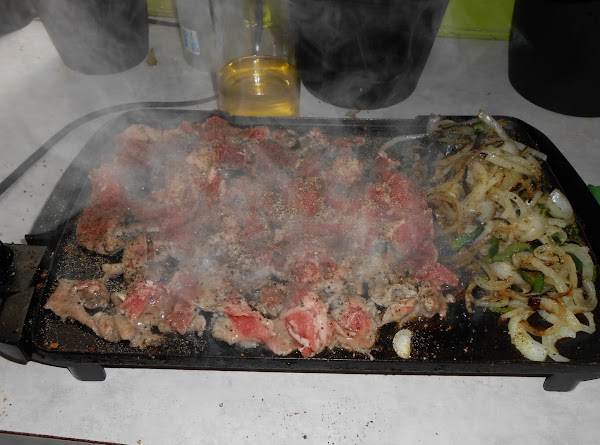 I remove the veggies and cook my Ribeye, breaking it up into pieces with...