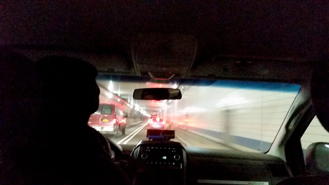 Taxi cab in the Lincoln Tunnel