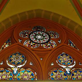 Stained Glass Window in a Leipzig Church, Germany by Sheri Fresonke Harper - Artistic Objects Glass ( church, window, leipzig, germany, stained glass,  )