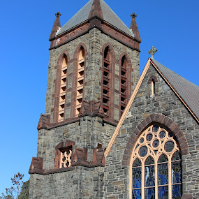 Church and steeple by Janet Smothers - Buildings & Architecture Places of Worship
