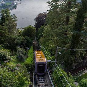 Train in Lake Como by Anastasis Agathokleous - Transportation Trains ( sky, landscape photography, green, nature, tree, lake, trees, landscape, train,  )