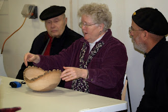 Photo: Margaret talks about how well the bowl is centered in the log.