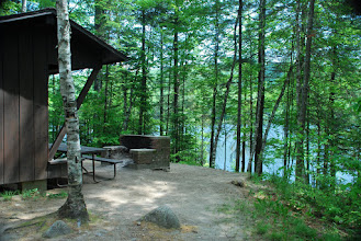 Photo: Laurel lean-to overlooking Ricker Pond by Linda Carlsen-Sperry.