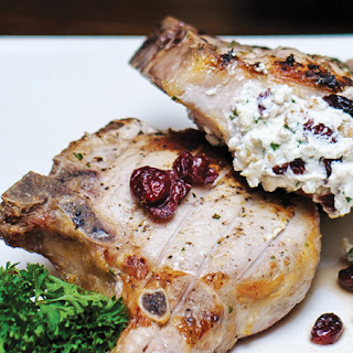 Goat Cheese and Cranberry Stuffed Pork Chops