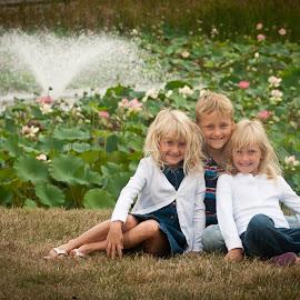 Fall Shoot by Wilson Silverthorne - Babies & Children Child Portraits ( fountain, flowers, children, girl, boy )