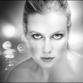 by Adrian Chinery - Black & White Portraits & People ( female, future, woman, stare, intense, beauty, bokeh, eyes )