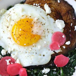 Portobello Mushrooms with Sauteed Spinach and Egg.