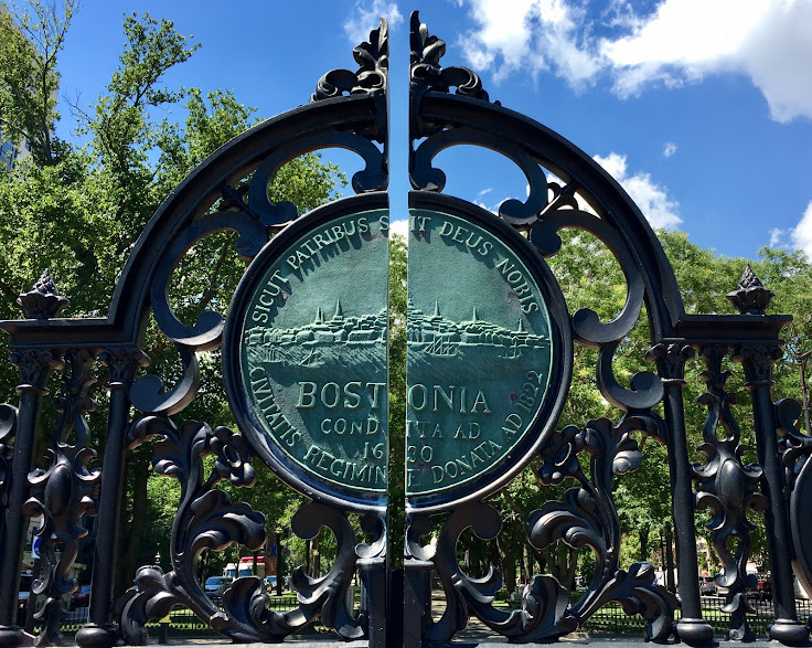 The insignia of the city on the Boston Gardens gate.
