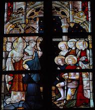 Photo: Vie de saint Ghislain : saint Ghislain, accompagné de saint Vincent, bénit sainte Waudru de Mons (chapelle Saint-Ghislain)