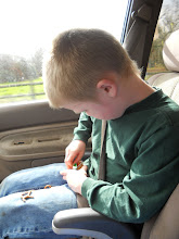 Photo: on our way to shop, I took peanut butter to go cups and pretzels for the boys to snack on.