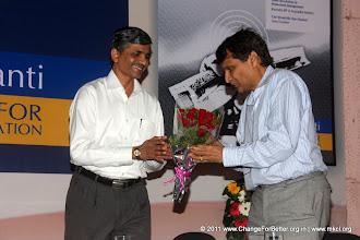 """Photo: Shri Vevek Sawant welcoming Shri. Suresh Prabhu. Change for Better Release Function November 13, 2011. Shri. Suresh Prabhu, former Union Minister released """"Change for Better"""" at HMCT Auditorium, Pune"""