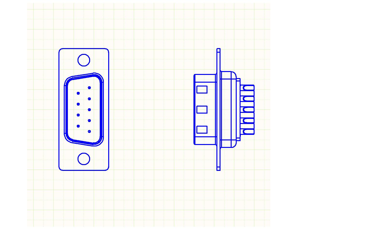 Diseño esquemático para el montaje de cables de PCB. Figura 1: Diseño 1:1 del cabezal del conector