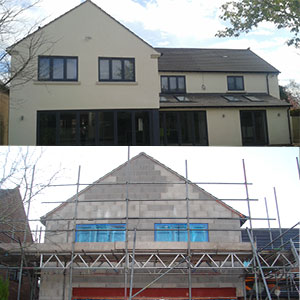 two storey home in insulation construction