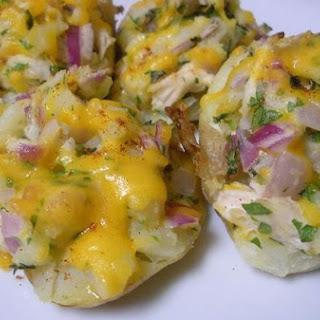 Chicken & Cheddar Stuffed Potatoes.