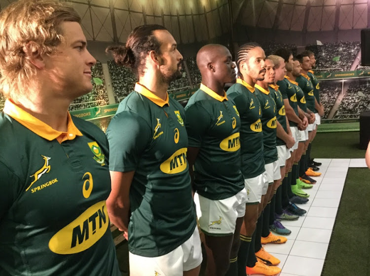 Springboks in the new MTN-sponsored jerseys. Picture: SA RUGBY