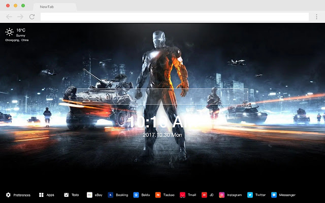 Iron Man Popular Marvel HD New Tabs Theme