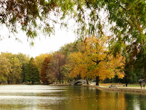 Photo: Stone bridge and atumn trees at a pond at Eastwood Park in Dayton, Ohio.