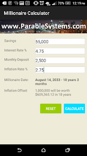 Millionaire Calculator screenshot
