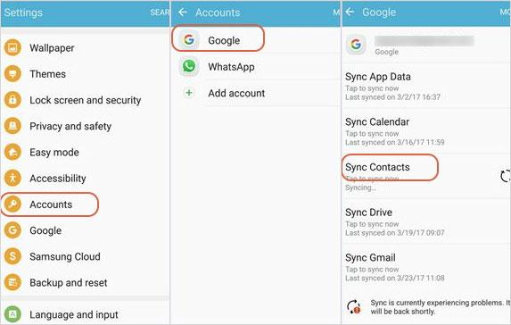 sync android contacts from android to android with gmail account