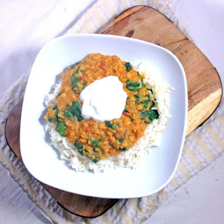 Red Lentil Dal With Spinach.