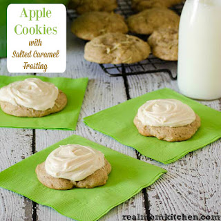 Apple Cookies with Salted Caramel Frosting