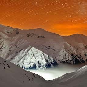 Fagaras Mountains (night) by Sorin Lazar Photography - Landscapes Starscapes ( light, outdorr, outside, fagaras_mountains, winter, starscape, altitude2000m, night photography )